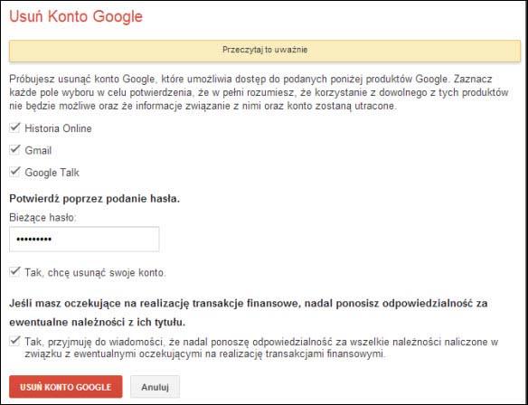 Jak usunąć konto w Google?