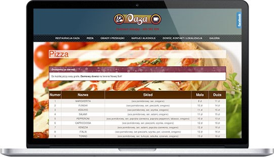 Realizacje: strona www - restauracja, pizzeria