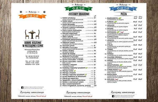 Projekt menu restauracja realizacja